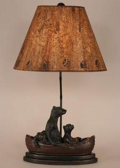 Bears in Canoe rustic cabin decor table lamp