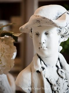 Vintage French Plaster Bust Grinam Niam Boy by edithandevelyn