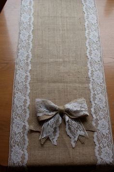 wedding tables, lace, idea, tabl runner, burlap crafts, bow, head tables, table runners, diy wedding