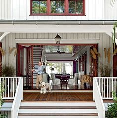 Accordion-style French doors - open to a large porch