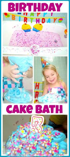 Birthday cake bath for kids on their birthday - how fun!  Another great idea to make their day even more special.