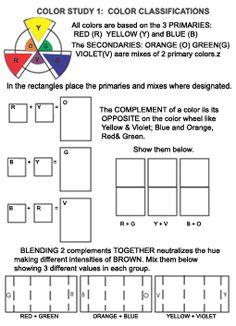 study sheet one understand color, teaching colors, color pencil, color wheels, worksheet, color studi, colored pencils