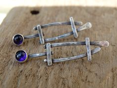 Rustic Amethyst earrings - 100% artisan hand fabricated in sterling silver with bezel set Amethyst cabochons in fine silver, one of a kind metalsmith  earrings by JoDeneMoneuseJewelry, $48.00