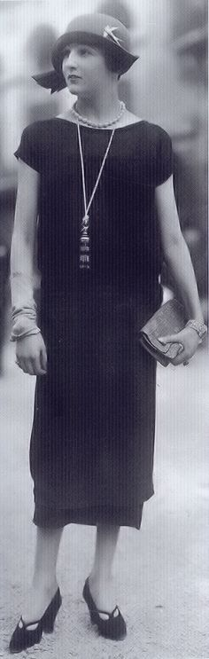 1920's Fashion - 'A dress by Jenny showing off a tasselled lipstick holder.' - Decades of Fashion by Harriet Worsley - @~ Mlle