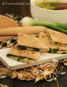 These paratha are made with a combination of oats and wheat flour to initiate you to the taste of fibre filled oats. I have used the spring onion filling as it helps to disguise the raw taste of oats. These ar best served hot.