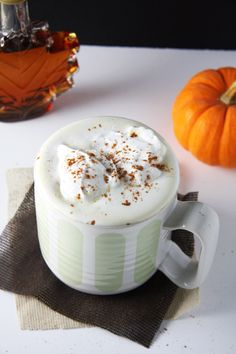 Coffee Free Maple Pumpkin Spice Latte #healthy #vegan
