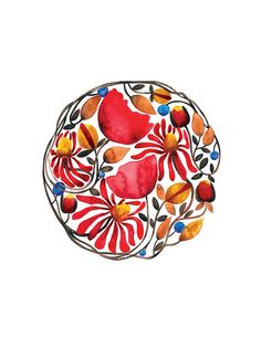 Flower Mandala Leaves Watercolor Illustration Print Poppy Red Blue Brown Nature. $25.00, via Etsy.