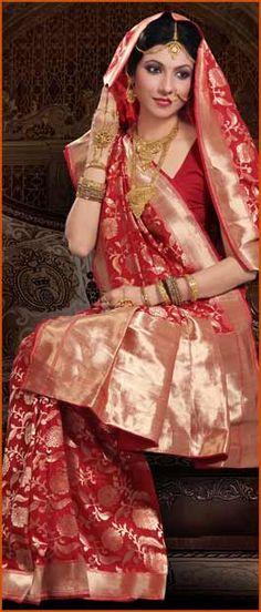 #Red Pure #Banarasi #Silk #Saree with #Blouse @ $260.36 | Shop Here: http://www.utsavfashion.com/store/sarees-large.aspx?icode=snn33b
