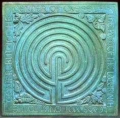 A Labyrinth is a maze that has only one path. A labyrinth helps us to find the path to our true selves and our connection with nature and all beings. The design symbolizes the cycle of birth, death and rebirth. This labyrinth design may be traced with the finger as a meditation and an aid to quiet the mind. The four plants in the corners symbolize spirals and finding your inner self: oak, ivy, maple and hazel