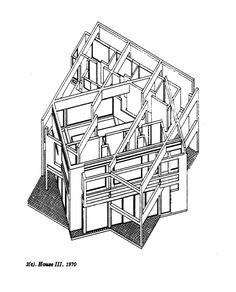Peter Eisenman. House III. Drawing - 1970. Late modernist architect. Associated with 'Deconstructivism.