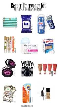 Beauty Emergency Kit ... great items to keep with you at school, work, etc