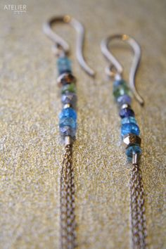 Gemstone & Chain Tassel Earrings by ATELIERGabyMarcos on Etsy, $59.00