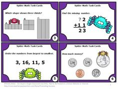 FREE Spiders Math Task Cards - Here are 6 spider math task cards for grade one. Scavenger hunt directions and other games ideas are provided. A student response form and answer key are also provided. There are four spider math cards on each page.