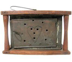 Antique PIERCED HEART TIN & OAK WOODEN FOOT WARMER Folk Art Primitive #NaivePrimitive