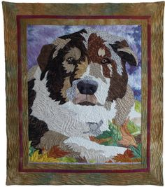 """Wiley Boy, 25.5 x 29.5"""", art quilt by Barbara Yates Beasley: """"A tribute to our Collie/Husky mix, Wiley."""""""