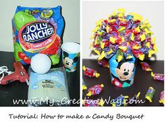 My Creative Way: Tutorial: How to make a Candy Bouquet. Cute for a birthday party too :)