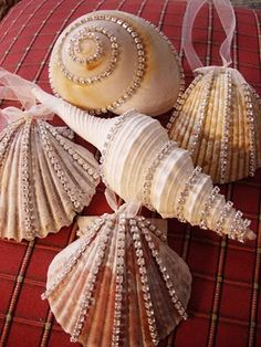 sea shell ornaments! These are exquisite with the Crystal style beading. Yummm! enhance shells from your vacations and write inside them the date of the Vacation. Memories are awesome.