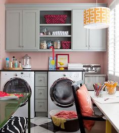 This trendy laundry room doubles as a hobby space.  More laundry room storage solutions: http://www.bhg.com/rooms/laundry-room/storage/laundry-room-storage-solutions/?socsrc=bhgpin070913laundrywork