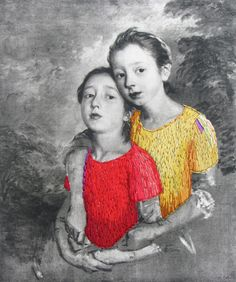 'Margaret and Mary' - Julie Cockburn -  embroidery on found image