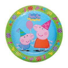 Platos para una fiesta Peppa Pig, de www.fiestafacil.com - $3.75 para 8 / Disposable plates for a Peppa Pig party, from www.fiestafacil.com