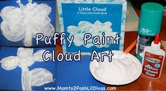 Explore and extend Eric Carle's book Little Cloud by letting kids make their own Shaving Cream Puffy Paint clouds #Momto2PoshLilDivas