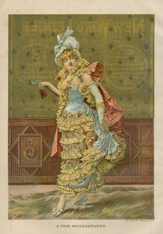 1890 Chromolithograph   A Fair Masquerader   Victorian lady