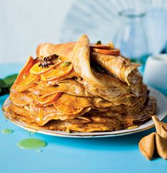 Spiced citrus, star anise and cardamom pancake stack