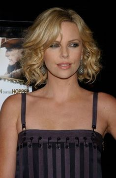 short curly hairstyles, charlize theron, medium haircuts, short haircuts, bob, short hairstyles, fine hair, medium hairstyles, wavy hairstyles