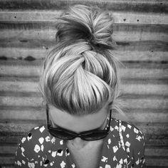 braided bun ~ hairstyles <3