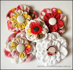 Until Wednesday Calls: How To: Scrap Fabric Flower Accessories  Make these pretty flowers into brooches, hair clips, headbands and wrist corsages! make a bunch for your friends and family for Christmas. Head on over to Until Wednesday Calls or the full tutorial.