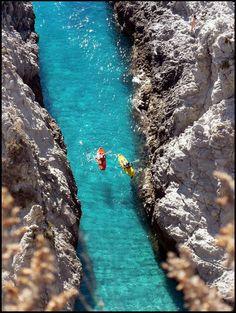 Kayaking, Capo Vaticano, Calabria, Italy.