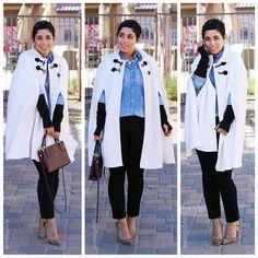 coach bags, diy fashion, capes, fashion sewing, denim shirts, winter wonderland, vogue patterns, mimi style, black pants