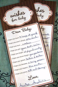 """Wishes for Baby"" activity for baby shower"