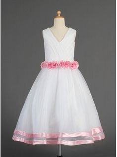 A-Line/Princess V-neck Tea-Length Organza Satin Flower Girl Dress With Sash Flower(s) from JJ's House, Bridal & bridal accessories.  www.jjshouse.com  #flowergirldresses