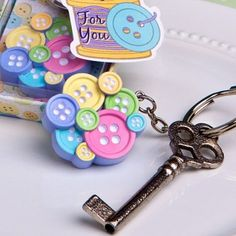 Little Buttons Keychain Baby Shower Favors