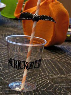 Bat on straw for Halloween