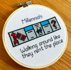 'Millenials Monopoly' PDF pattern – modern cross stitch patterns and kits – sprucecraftco.com #crossstitch