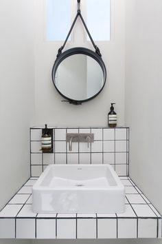 White Tiled Tiny Bathroom/Remodelista