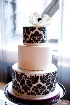 Black and white damask cake. The Wedding Cake Shoppe.