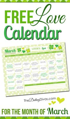 This is so cool! A printable calendar with a little love assignment every day. It even has links to date ideas and romance tips.