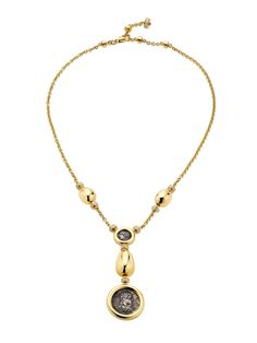 Bvlgari 18K Yellow Gold Monete Mediterranean Eden Coin Drop Necklace.
