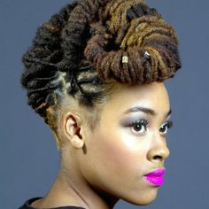 Locs updo. Liking the colours, hairstyle and lipstick.