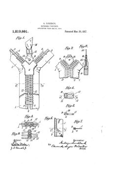 patent 1,219,881 - the zipper in your pants AKA: SEPERABLE FASTENER