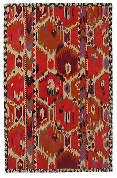 Ikat rug interior design, ikat rug, ethnic, heart, pattern, living room rugs, anthropologie, design inspir, hous