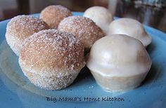 These mini doughnut muffins look like malasadas or doughnut holes.   No frying here, these were baked in a mini muffin pan.