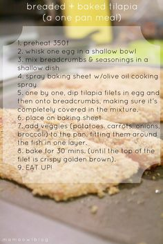 breaded   baked tilapia (a one pan meal)
