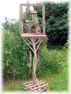 birdhous, craft, garden art, old picture frames, easel, barnwood frame