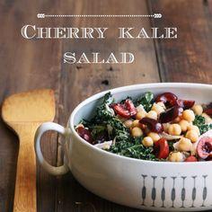 Cherry Kale Salad • theVintageMixer.com #kale #salad