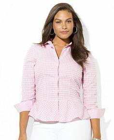 Lauren Ralph Lauren Plus Size Three-Quarter-Sleeve Gingham Peplum Shirt - Plus Size Tops - Plus Sizes - Macy's