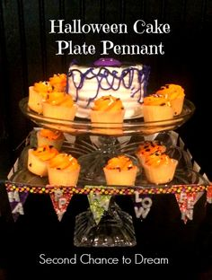 Second Chance to Dream:  Halloween Cake Plate Pennant Tutorial #easydiy #plaidcrafts #modpodge #decoden #whippedclay